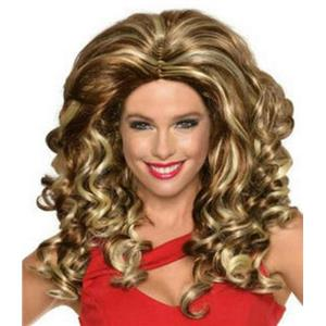 Women's Brown Blonde Mixed Felicity Frappuccino Big Curly Wig