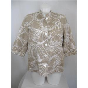 Susan Graver Size 1X Floral Print Cotton Jacket with Mandarin Collar- Dark Stone