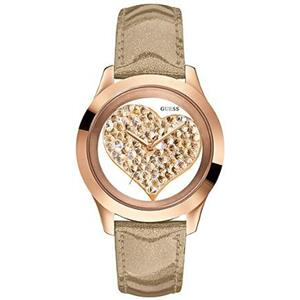 Guess Women's U0113L3 Crystal Heart Rose Gold Glitter Leather Band