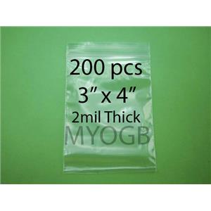 "200pcs 3"" x 4"" Zip Lock Plastic Bags-Storage-Jewerly-Parts-Gold Nuggets"