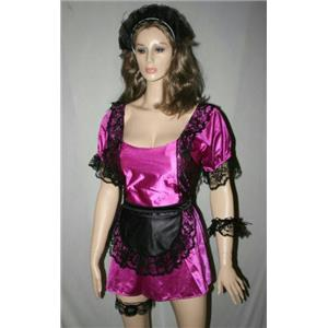 Fuchsia Upstairs Maid Sexy Adult French Maid Costume Size Large