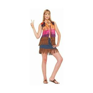 Hippie Faux Suede Multi-Colored Fringed Vest 60's Costume Accessory