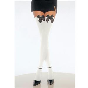 Sexy Opaque White Thigh Highs with Black Bows