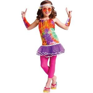 Girls Age of Aquarius Hippie Kids Costume Large (12-14)