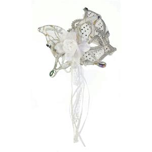 White and Silver Butterfly Venetian Mask 64506