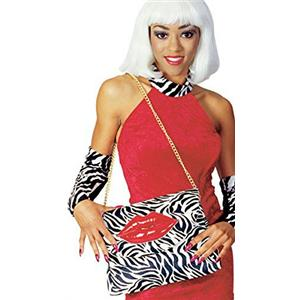 Rubies Novelty Zebra Pocketbook Purse with Lips