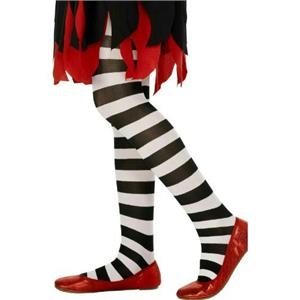 Black and White Striped Child Tights 6-12 years