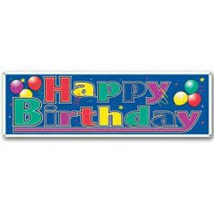 "Happy Birthday Decoration Sign Birthday Party Banner. Size: 63"" x 21"""