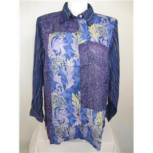 Koos of Course Size 1X Blue Batik Print Long Sleeve Polyester Big Shirt
