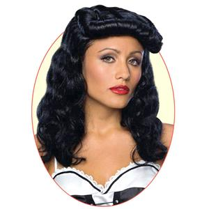Cigar Girl Pin Up Curly Black Wig