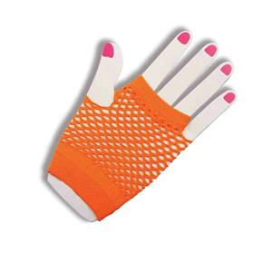Short Neon Orange Fingerless Fishnet Gloves 80's Girl