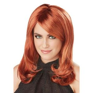 Auburn Red Lush Layers Glamorous Wig with Side Swept Bangs