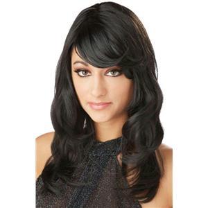 Black Lush Layers Glamorous Wig with Side Swept Bangs
