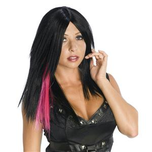Black Layered Punk Rocker Biker Wig with Pink Dark Streak