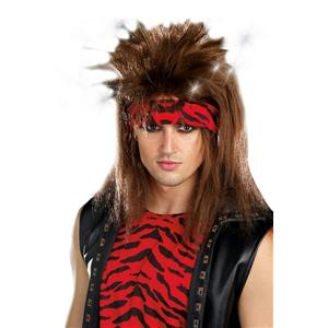 Light-up Brown Mullet Style Unisex Rocker Adult Costume Wig