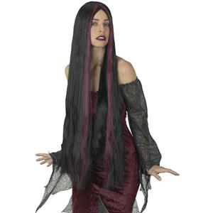 """36"""" Black and Burgundy Long Streaked Witch Wig"""