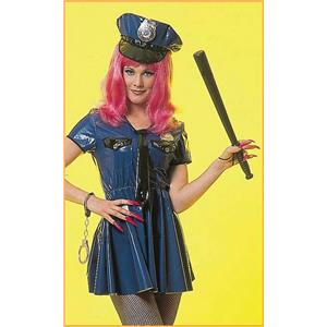 Deluxe Sexy Vinyl Police Woman Adult Costume Dress and Hat