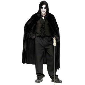 Black Hooded Velvet 68'' Vampire Cape