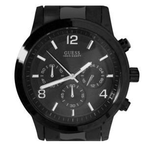 GUESS Men's U15061G1.Dress.Chronograph.Black Ion-Plated Bezel/Bracelet.100M Resist.