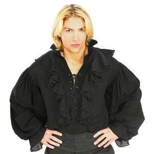 Black Linen Pirate or Renaissance Shirt for Adults Size XL 44-46 chest