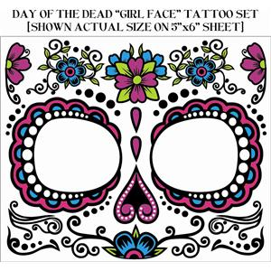 Day Of The Dead Floral Sugar Skull Dia de Muertos Female Girl Face Tattoo Set