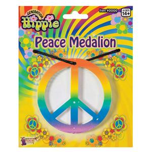 Rainbow Peace Medallion Necklace Hippie Costume Accessory