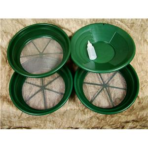 """3 Large Screens 1/8-1/12-1/20"""" Classifiers-Sifting +14"""" Green Gold Pan & Snuffer"""