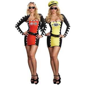 Women's Drive Me Crazy Sexy Taxi Driver Racecar 2-IN-1 Adult Costume Size Large