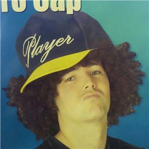 Player Afro Cap with Attached Black Afro Wig