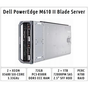 Dell PowerEdge M610 Blade Server 2×Six-Core Xeon 3.33GHz + 72GB RAM + 2×1TB SAS