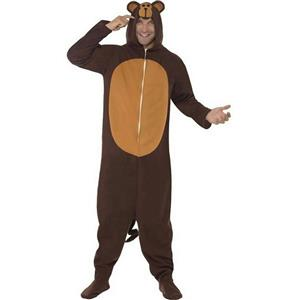 Monkey Adult Deluxe Costume With Hood Size Medium