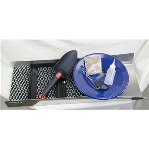 """""""Gold Rush Miners Special"""" Sluice Box 24""""x10""""Pay Dirt-Blue Pan-8pc Mining Kit"""