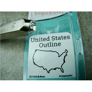 """United States"" 1/4""-6mm-Large Stamp-Metal-Hardened Steel-Gold & Silver Bar"