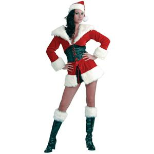 Women's Short N' Sweet Sexy Miss Santa Christmas Costume Size M/L (8-12)