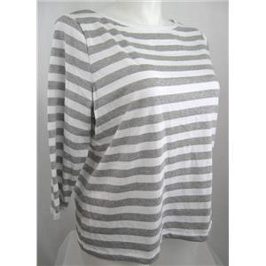 Talbots Woman Size X 3/4 Sleeve Boatneck Top w/White-Metallic Silver Stripe