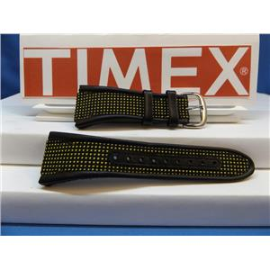 Timex Watch Band iControl Expedition T47161 Black Yellow Leather Nylon Strap