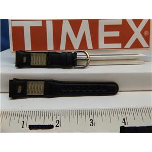Timex Watch Band 16mm Blk/Gray Leather/Nylon Ladies Strap. Watchband