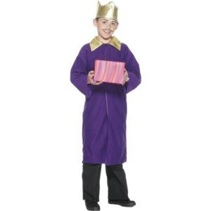 Smiffy's Purple Nativity King Wiseman Child Christmas Costume Cape Crown Medium