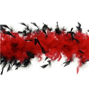 "72"" Red and Black Feather Boa Great Flapper Costume Accessory"