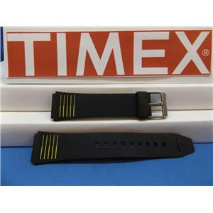 Timex Watch Band 19mm Black:Yellow Stripes Mans Resin Sport Strap. Watchband