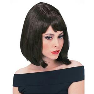 Dark Brown Shoulder Length Bouffant Style Starlet Fashion Wig with Bangs
