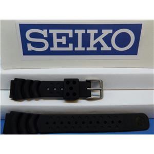 Seiko WatchBand 18mm Rubber Divers Strap. Original Black Sport Watchband