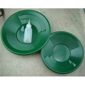 """Lot of 2 Green Double Riffle Gold Pans 1-8"""" & 1-10"""" w/Bottle Snuffer-Panning Kit"""