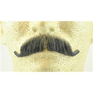 Dark Grey 100% Human Hair European Character Elegant Handlebar Mustache 2012