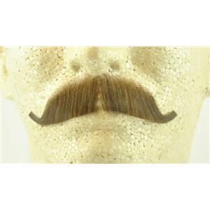 Light Brown 100% Human Hair European Character Elegant Handlebar Mustache 2012