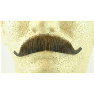 Medium Brown 100% Human Hair European Character Elegant Handlebar Mustache 2012