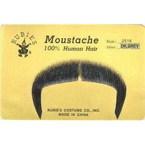 Dark Grey 100% Human Hair Zapata Fu Manchu Mustache 2016