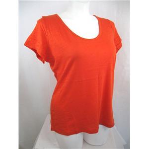 Liz Claiborne Woman Size 1X True Orange Cap Sleeve Deep Scoop Neck Top