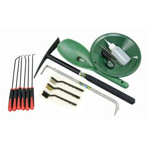 """Gold Rush Special"" 17 Pc Crevice Tool & Green Gold Panning-Mining Kit"