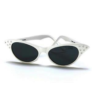 1950's White Retro Cateye Glasses Cat Eye Dark Lens Sunglasses with Rhinestones